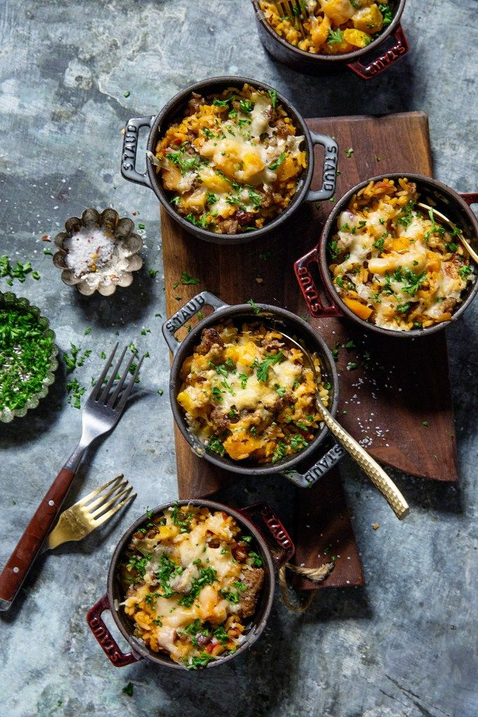 Butternut Squash and Sausage Rice Casserole ~ How fun are these individual size casserole pots of deliciousness? @Knorr #KnorrSelectsPartner #Sponsored