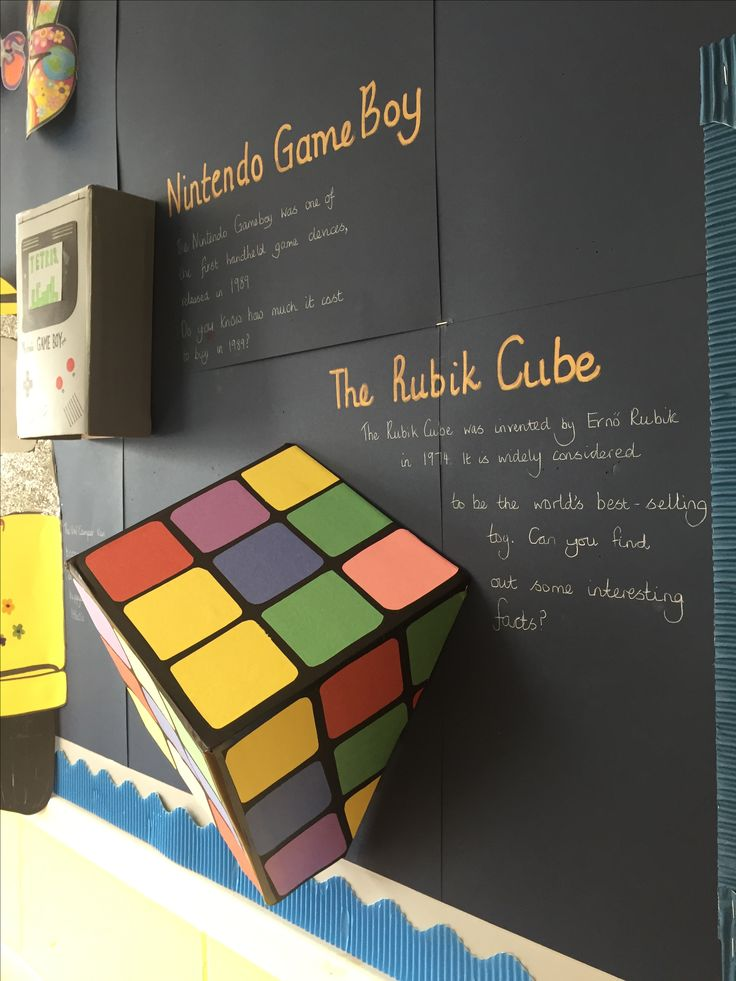 Through the decades primary school display, Rubik cube. Made by Charley