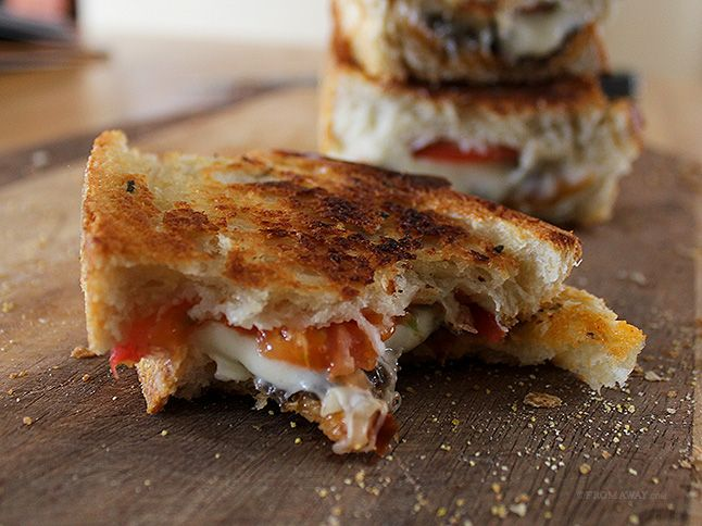 ... tapenade, mozzarella cheese, and tomato on butter-griddled rustic
