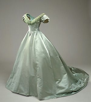 "Satin evening gown, dated ""1860-70,"" Danish, National Museet collection: 667a/1941. Site in Danish. Also has a graphed pattern taken from the extant dress."