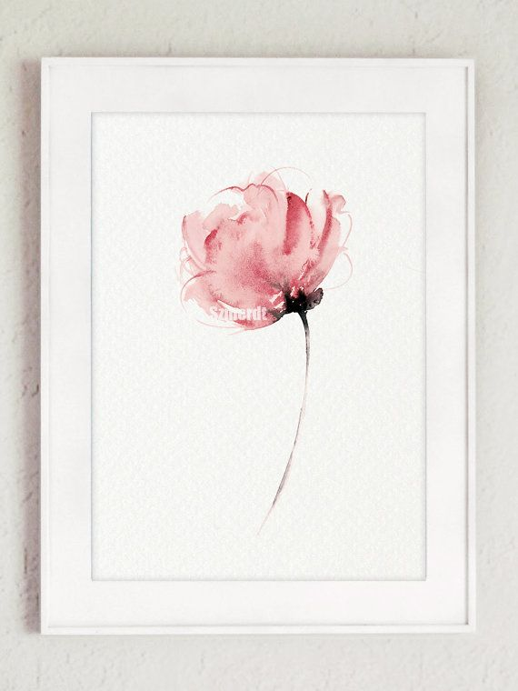 Watercolor Flower Wall Decor. Delicate Pink Flower Abstract Art Print. Pink Floral Home Decor Gift Idea. Type of paper: Prints up to (42x29,7cm) 11x16 inch size are printed on Archival Acid Free 270g/m2 White Watercolor Fine Art Paper and retains the look of original painting. Larger prints are printed on 200g/m2 White Semi-Glossy Poster Paper. Colors: Archival high-quality 10-cartridge Canon Lucia Pigment Inks with a droplet size of 4.0pl and chroma optimizer for long lasting tr...