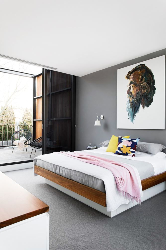 """The feature **wall** in the main bedroom is painted in [Dulux](http://www.dulux.com.au/?utm_campaign=supplier/