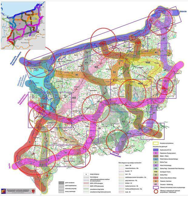 Planowane główne szlaki rowerowe w woj. zachodniopmorskim