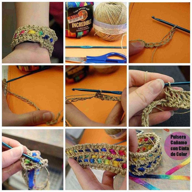 brazalete+de+crochet+canamo+y+cinta+tutorial-1.jpg (1600×1600)