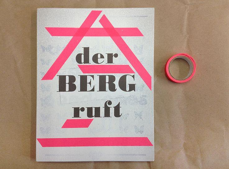 SIGN: Silkscreen and Tape on Wood #siebdruck #silkscreen #holzschild #berg #pink