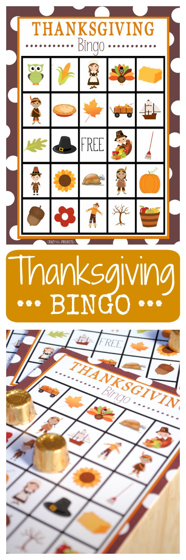 Free Printable Thanksgiving Bingo cards for kids. Print them out for a Thanksgiving party or to play before dinner on the big day.