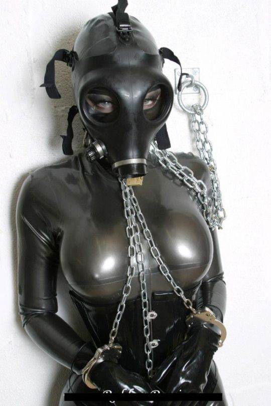 Excited Latex fetish masks and gloves