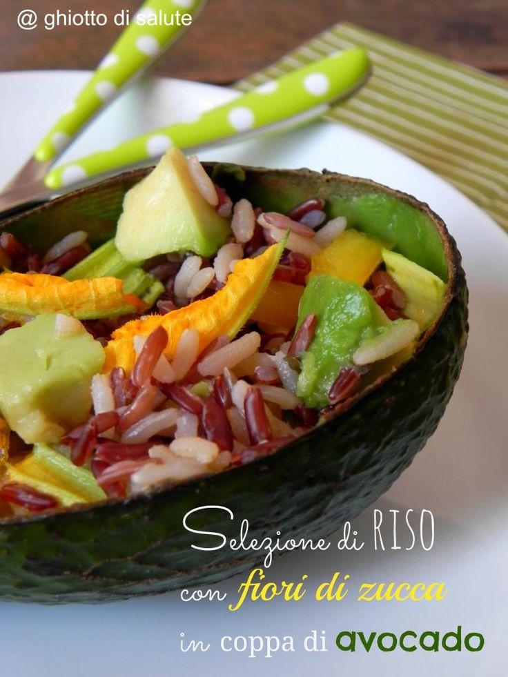 Wild, basmati e rosso della Camargue: selezione di riso con fiori di zucca e avocado by Ghiotto di salute