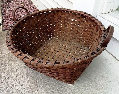 19th C Country Primitive Splint Laundry or Gathering Basket Carved Handles