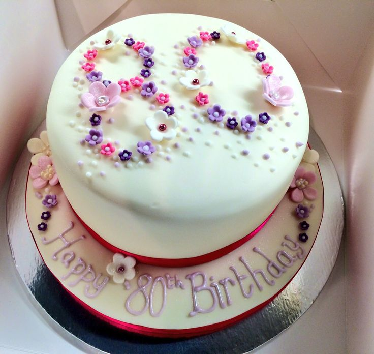 80th Birthday Cake | fancy cakes and cookies | Pinterest