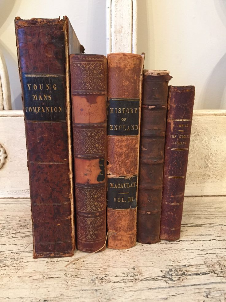 Antique Rustic Book Stack from 1880s - Tattered, Distressed Leather Books - Farmhouse Books by Thebeezkneezvintage on Etsy https://www.etsy.com/listing/293943807/antique-rustic-book-stack-from-1880s