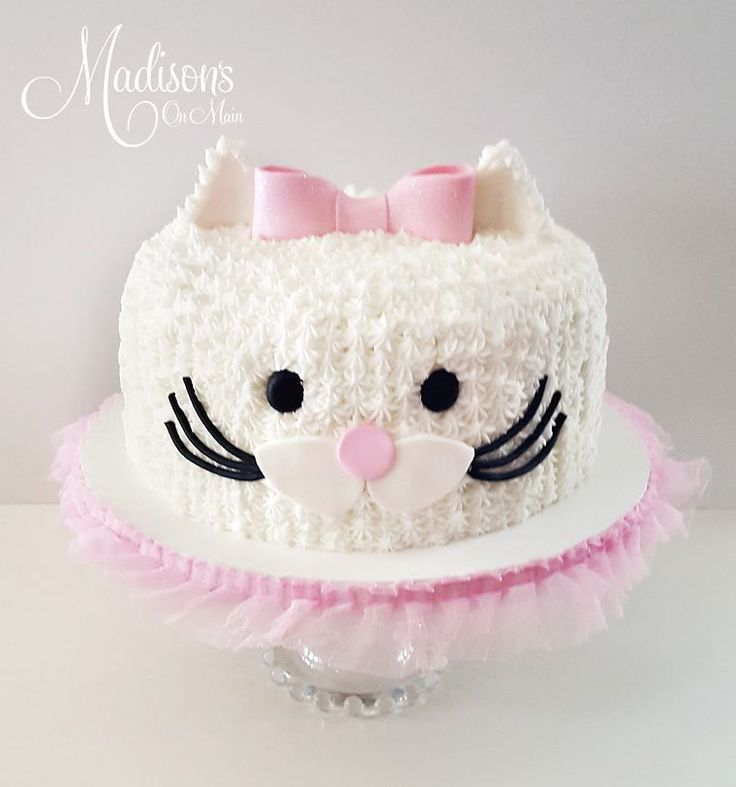 A Buttercream Kitty Cake For A Little Girl S Birthday Madisonsonmaincakes By