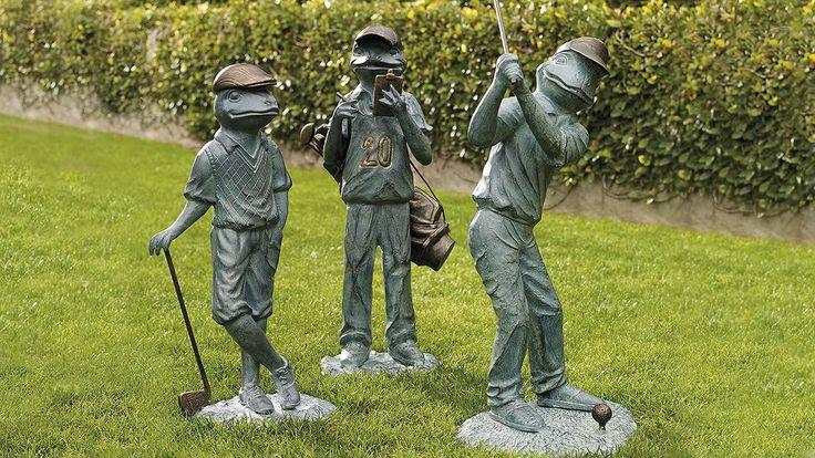 Golfing Garden Frogs Frogs Yard Statues Pinterest