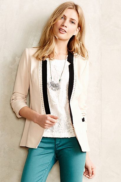 Love this two tone Anthropologie black and ivory blazer, the black lapel is gorgeous! This perfect blazer is on sale too...