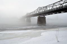 Mjøndalen bridge in fog