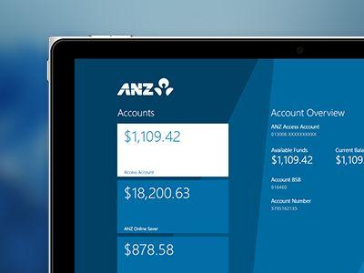 ANZ Windows 8 Metro App - Accounts Page by Corey Ginnivan
