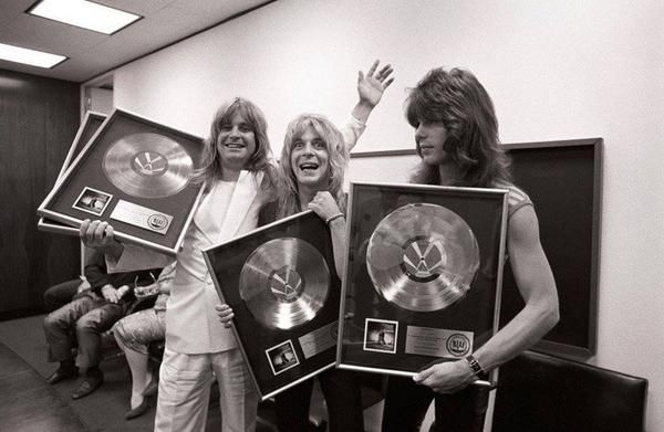 Ozzy, Randy and Rudy backstage 'Blizzard of Oz' album award plaque reception 1981.