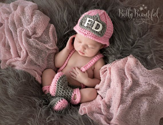 Baby Firefighter Fireman Hat Outfit, 4pc Crochet Diaper Cover Set w/Suspenders & Boots, Newborn, 0-3, 3-6, Photography Prop - MADE TO ORDER