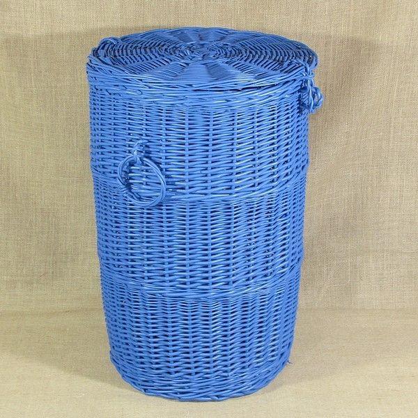 """Wiklinowy kosz na pranie """"Walec"""" - niebieski"""