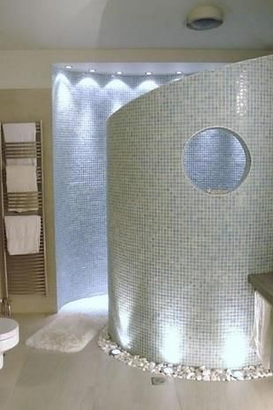 A walk-in shower means NO GLASS TO CLEAN