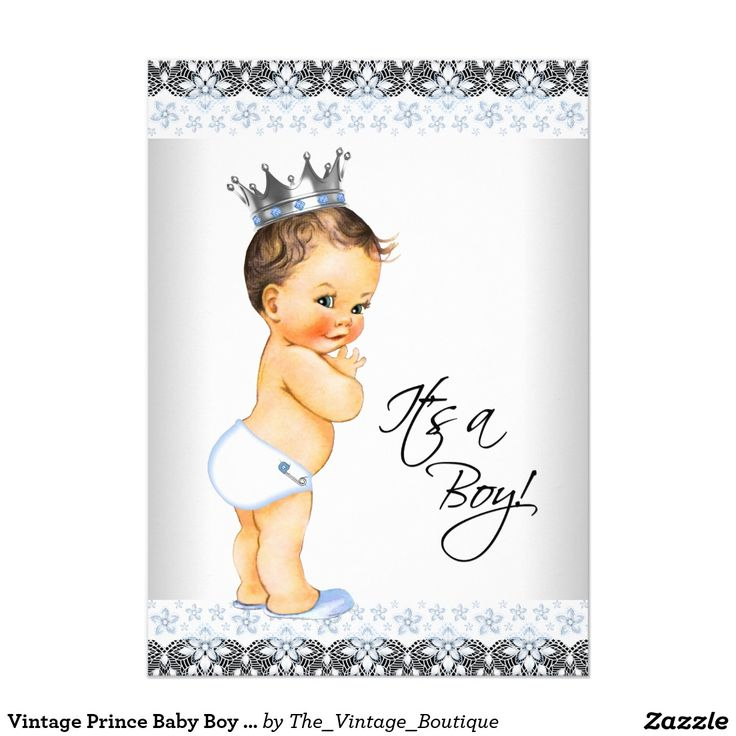 Vintage Prince Baby Boy Shower Card Baby Boy Shower