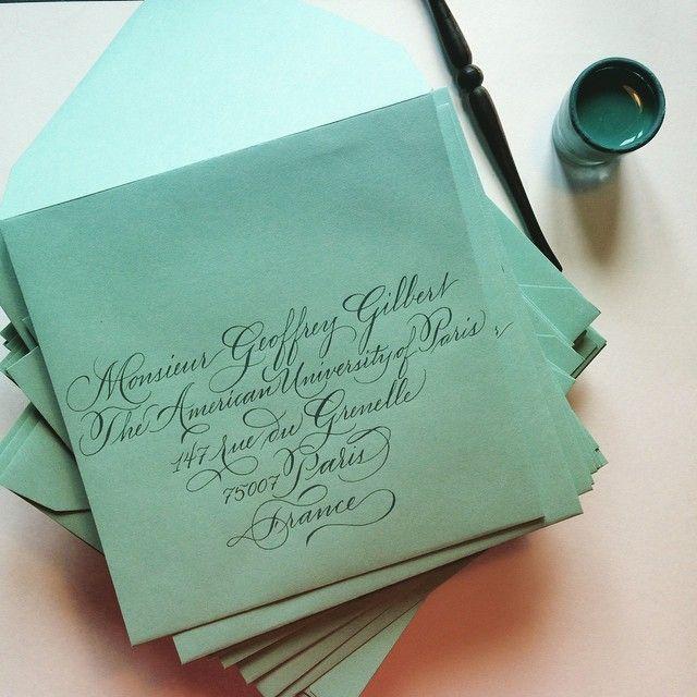 #calligraphy #weddings #weddinginvitations #bluegreen #studiofrenchblue #calligraphie