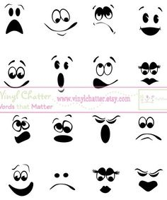 Faces you can use on making trashbag ghosts