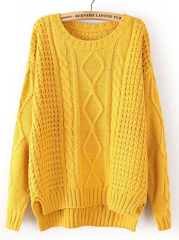 Yellow Long Sleeve Cable Knit Dipped Hem Sweater US$33.93