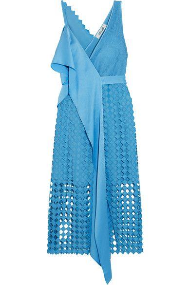 Diane von Furstenberg - Ruffled Crepe De Chine And Lace Wrap Dress - Blue - US