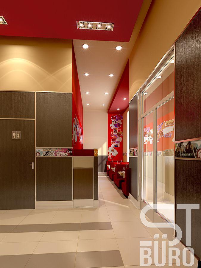 Ресторан KFC в Ставрополе. Коридоры и рекреации в кафе подчинены общей логике дизайн-проекта, но выполнены в более сдержанной манере. Здесь больше нейтральных оттенков. Об общей концепции напоминает цветовая гамма, узор на полу и яркий потолок, который перекликается с приватной зоной основного зала.  #цветныедетали #комфорт #атмосфера #дизайн #интерьер #дизайнинтерьера #бюродизайна #бизнес #лаконичность #минимализм #Ставрополь #ремонт #стройка #дизайнвыгодно #нужендизайн #частныйдизайнер…