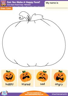 """""""Can You Make A Happy Face?"""" Make A Face Halloween Worksheet from Super Simple Learning. #preK #Kindergarten #ESL"""