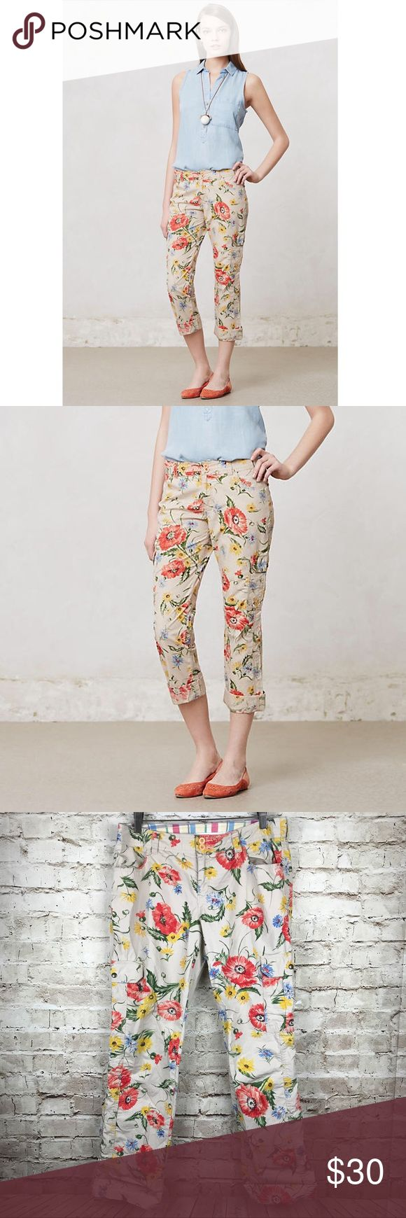 """Hei Hei Floral Sundrop Wonderer Cargo Pants With an eye on the weekend, Hei Hei's casual pieces are infused with sophisticated details and eclectic extras. Case in point: These so-sunny cargo crops. Very good used condition, no flaws or signs of wear. Front, back pockets 100% Cotton Machine wash Inseam: 28"""". Waist: 16"""". Total length - 36"""". Anthropologie Pants"""
