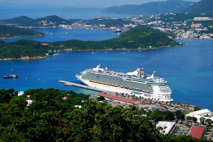 """The cruise ship """"Freedom of the Seas"""", in the harbor of San Martens, VI  --  Photo by James L Baker"""