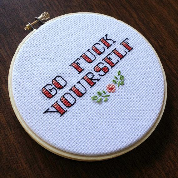 """Go Fuck Yourself - 5"""" Cross Stitch by House of Miranda on Etsy"""