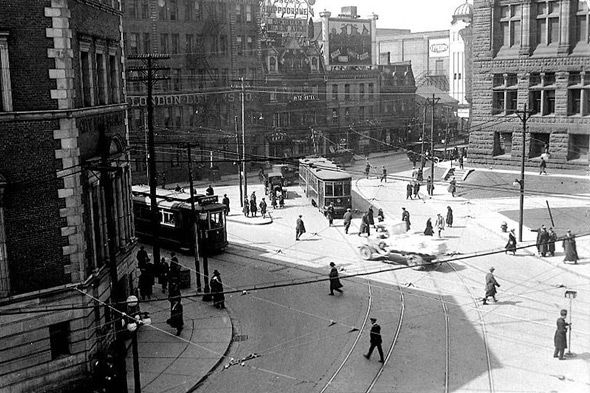 Queen and Bay Streets, Toronto, 1923. #vintage #1920s #Canada #streets