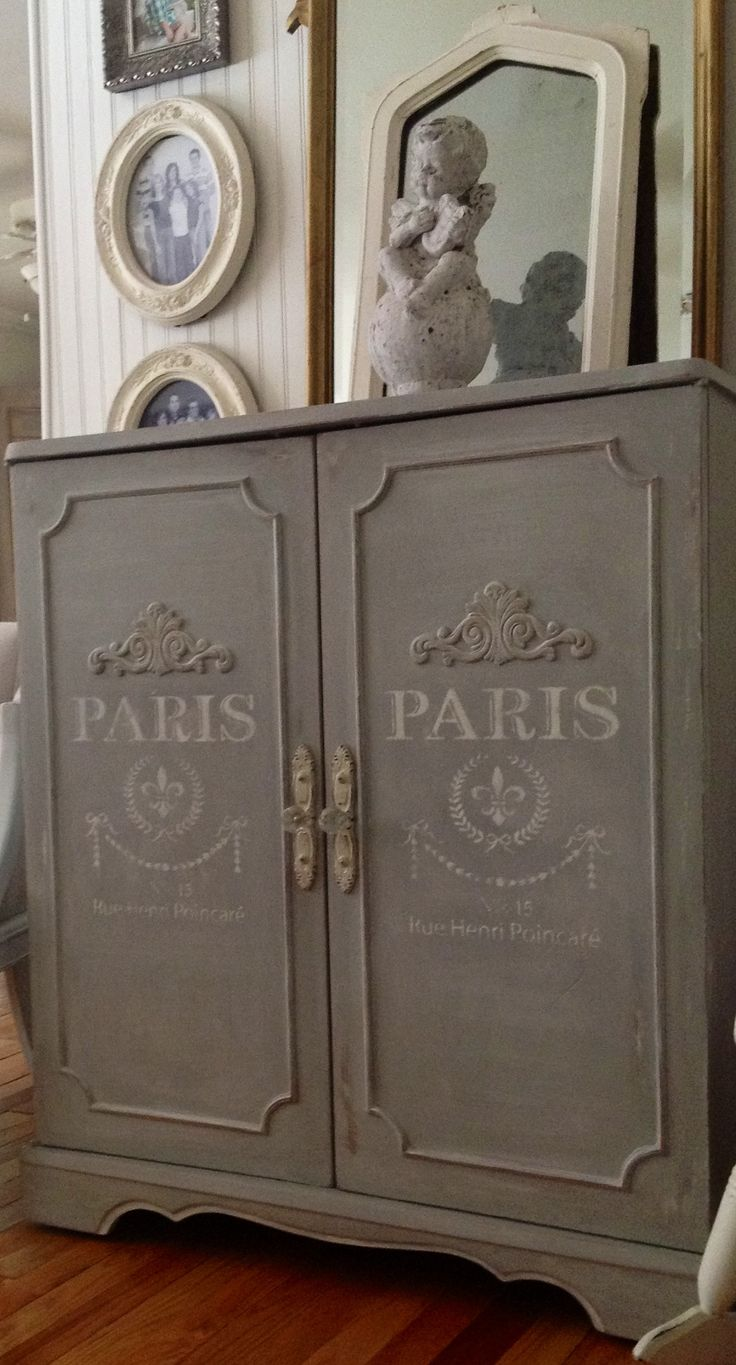 Paris grey cabinet w/ French stenciling from Maison de Stencils. Cottage chic furniture on Facebook.