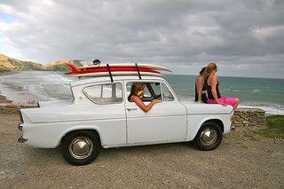 Girls checking surf