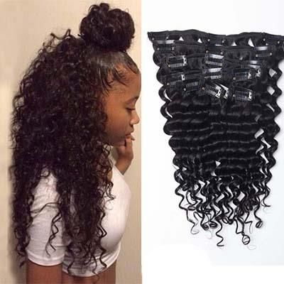 Clip In Hot Selling India Remi Human Hair Kinky Curly Hair Extensions for Black Women