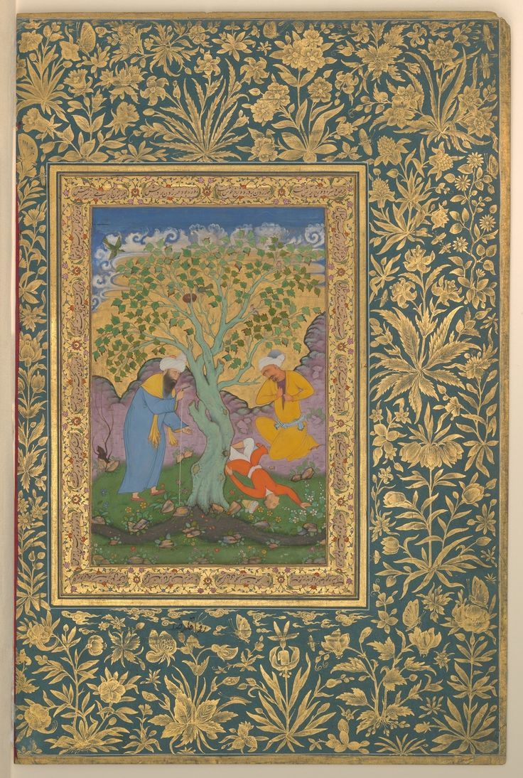 """""""A Youth Fallen From a Tree"""", Folio from the Shah Jahan Album Painting by Aqa Riza (Iranian, born Meshhed, ca. 1560, active until ca. 1621), Mughal India, ca. 1610 A lot of artists and poets born in..."""