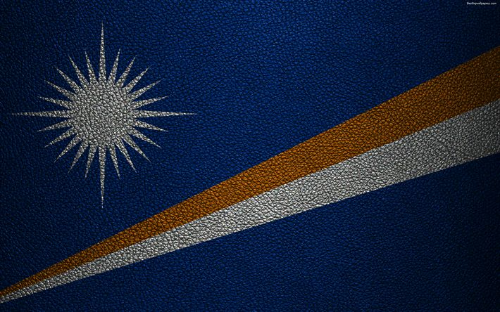 Download wallpapers Flag of the Marshall Islands, 4k, leather texture, Oceania, Marshall Islands, world flags