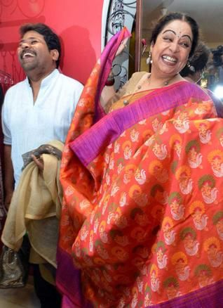 Kirron Kher and Gaurang Shah in a lighter vein during the launch of limited edition heritage collection of Gaurang sarees