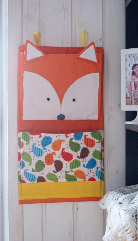 Купить Кармашки в детскую комнату Лиса / Хранение одежды / Оранжевый / Желтый