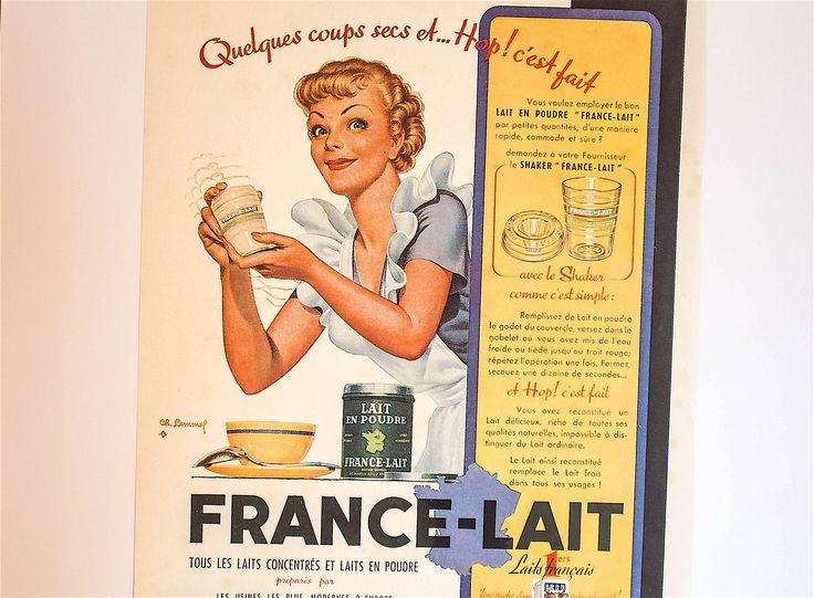 Publicité vintage française mid century: France-Lait - Publicité Française de collection - Affiche à encadrer by Decadisme on Etsy