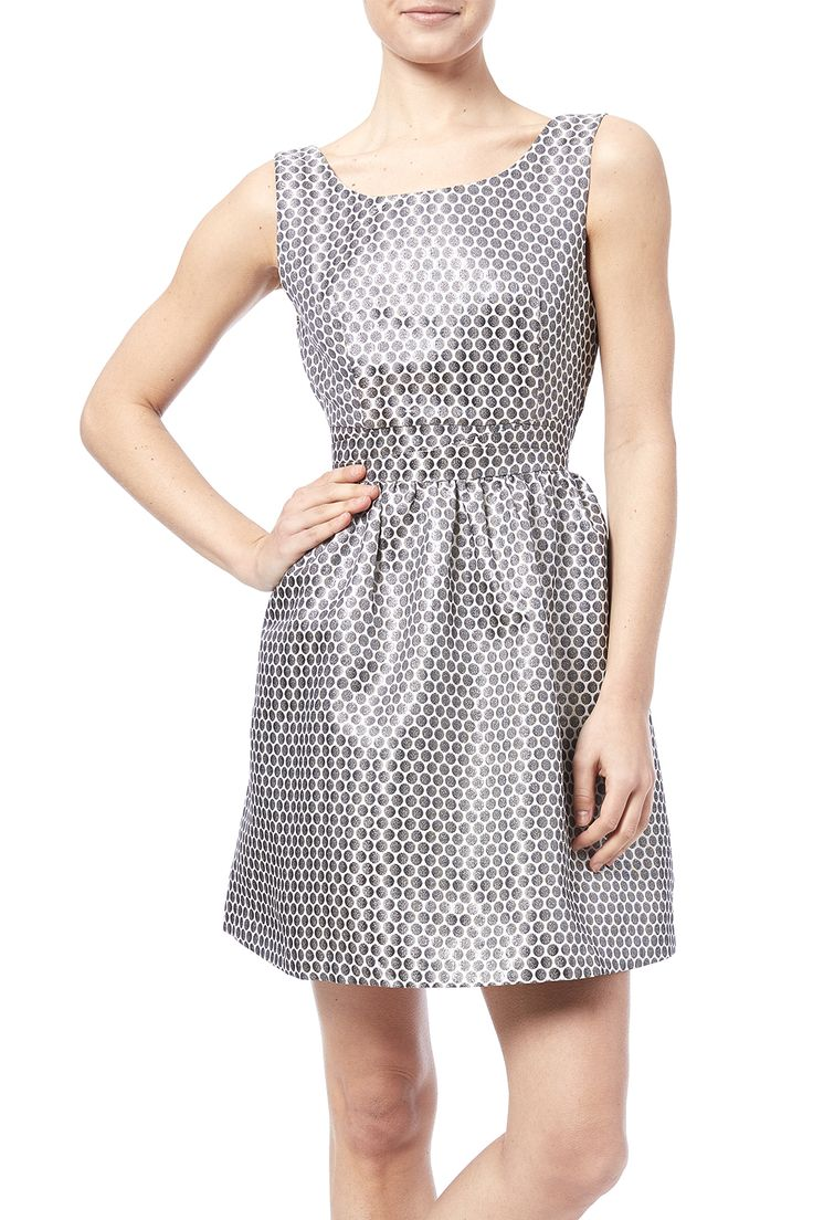 Fit and flare jacquard dress with dot detail. Features a round neckline, v-back and a zipper closure.   Fit N Flare Dress by Esley. Clothing - Dresses - Cocktail Illinois