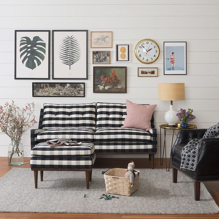 Jack Loveseat Windowpane Plaid Couch                                                                                                                                                                                 More
