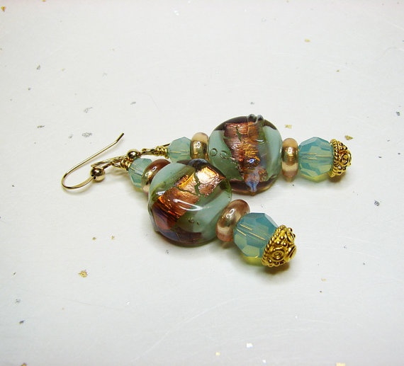 Aqua lampwork pierced earrings  Swarovksi crystal by ShopPretties, $45.00
