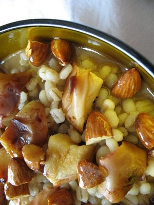 Barley Porridge with Honeyed Almonds and Roasted Apples Egyptian food
