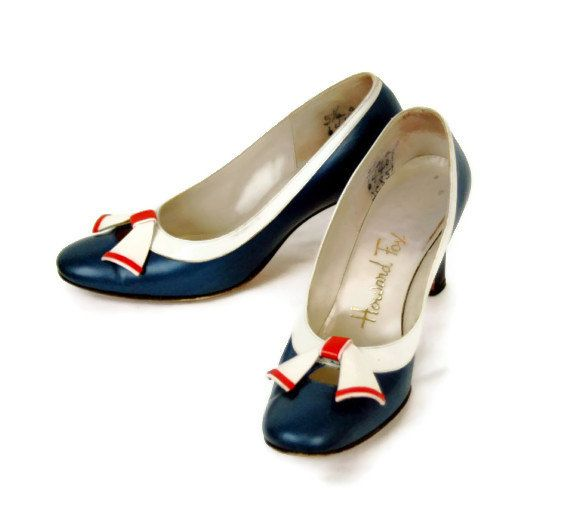 1950s shoes 50s heels red white blue patriotic by vintagerunway, $48.00