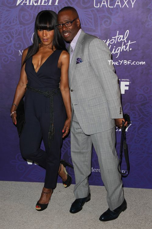 "Angela Bassett and hubby Courtney B Vance at the""Variety And Women In Film Annual Pre-Emmy Celebration"" 2014."
