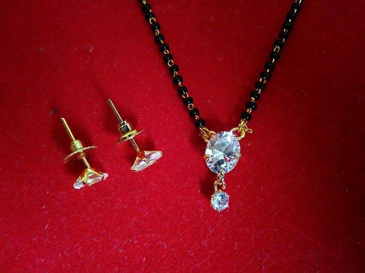 gold plated cz single oval shape diamond mangalsutra pendant with earrings